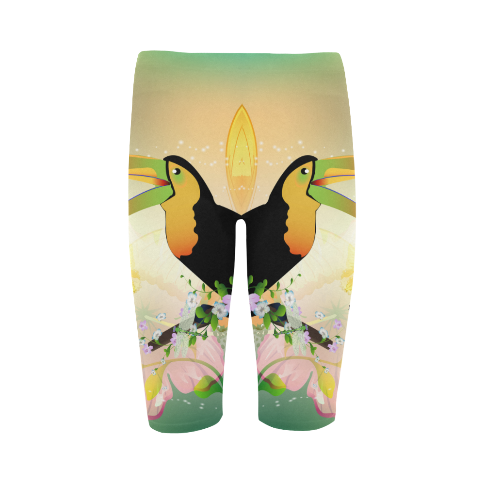 Funny toucan with flowers Hestia Cropped Leggings (Model L03)