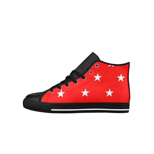 Star pattern red white VAS2 Aquila High Top Microfiber Leather Men's Shoes (Model 027)