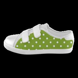 polkadots20160605 Velcro Canvas Kid's Shoes (Model 008)