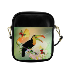 Funny toucan with flowers Sling Bag (Model 1627)
