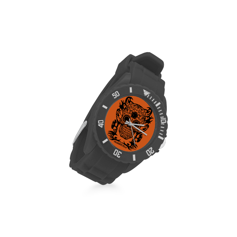 SKULL FLOWERS Sport Rubber Strap Watch(Model 301)