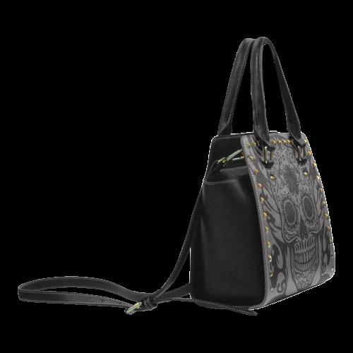 SKULL FLOWERS Rivet Shoulder Handbag (Model 1645)