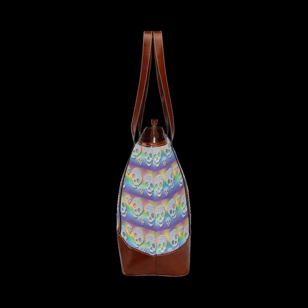 SKULLS MULTICOLOR Tote Handbag (Model 1642)