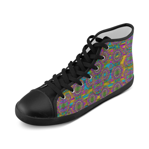 Peacock eyes in a contemplative style High Top Canvas Kid's Shoes (Model 002)
