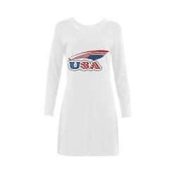 USA with flag Demeter Long Sleeve Nightdress (Model D03)