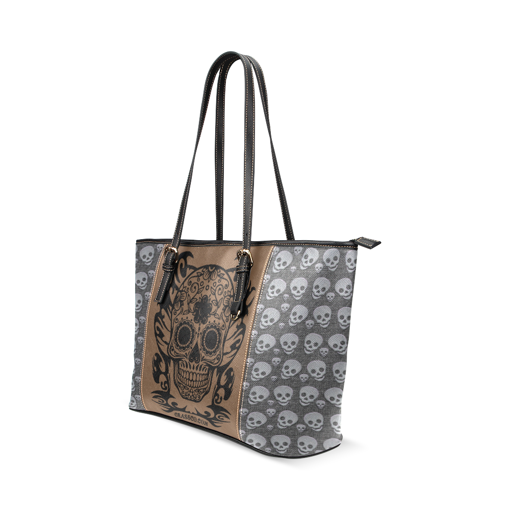 SKULL FLOWERS Leather Tote Bag/Small (Model 1640)