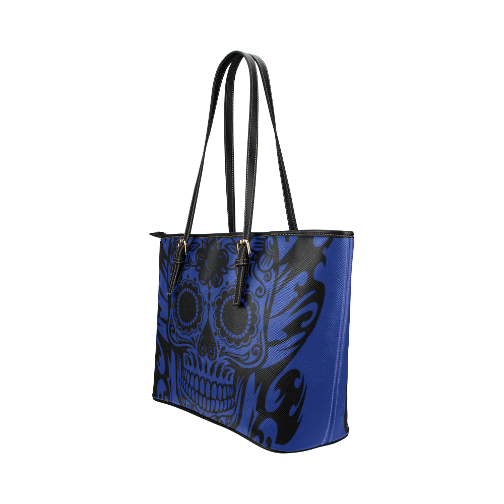 SKULL FLOWERS Leather Tote Bag/Small (Model 1651)