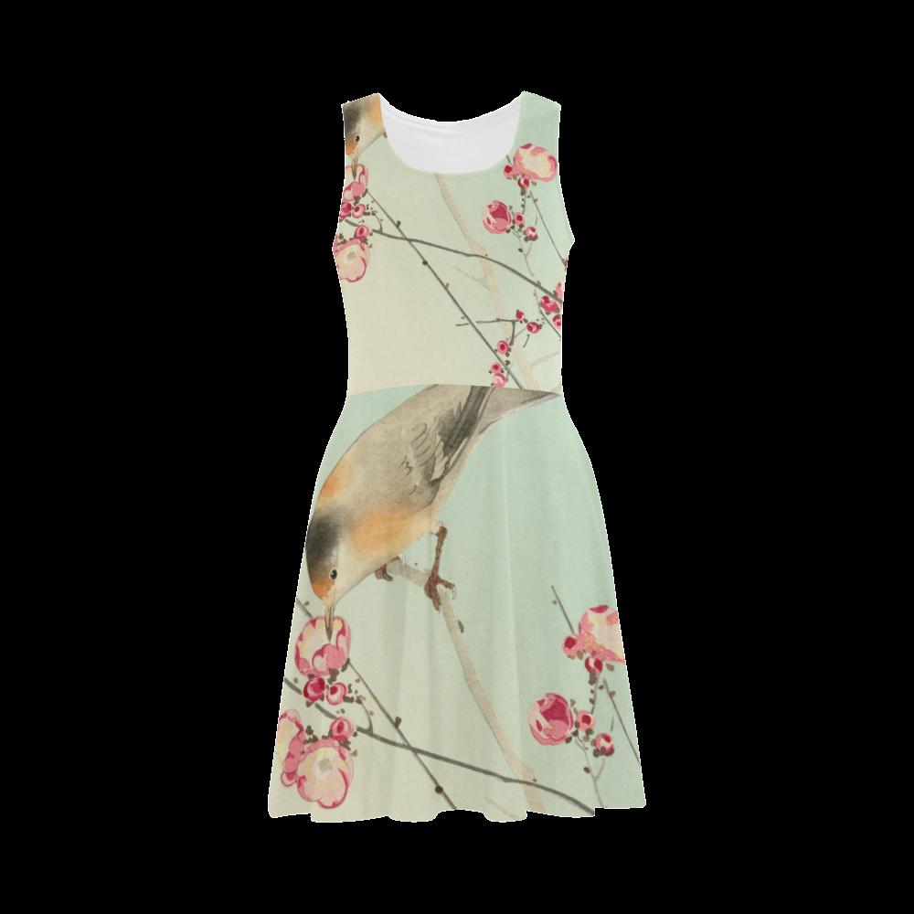 Oriental Bird pink blossom, Japanese woodcut print Atalanta Sundress (Model D04)