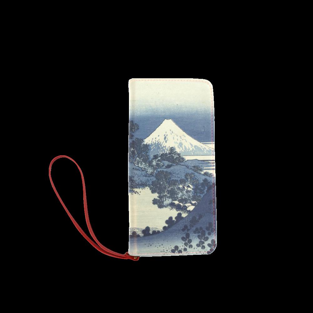 Blue Japanese woodcut scenery Women's Clutch Wallet (Model 1637)