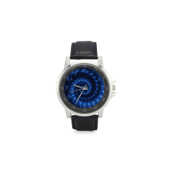 Glossy Blue Spiral Fractal Unisex Stainless Steel Leather Strap Watch(Model 202)