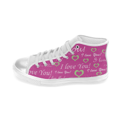 I Love You Women's Classic High Top Canvas Shoes (Model 017)