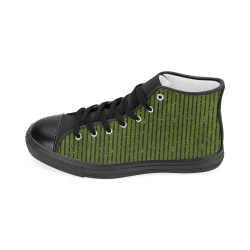Green Stripe Women's Classic High Top Canvas Shoes (Model 017)