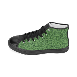 Vintage Flowers Ivy Green Women's Classic High Top Canvas Shoes (Model 017)