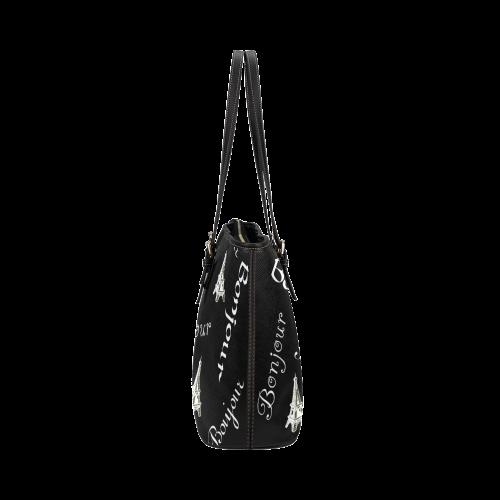 White Bonjour Leather Tote Bag/Large (Model 1651)