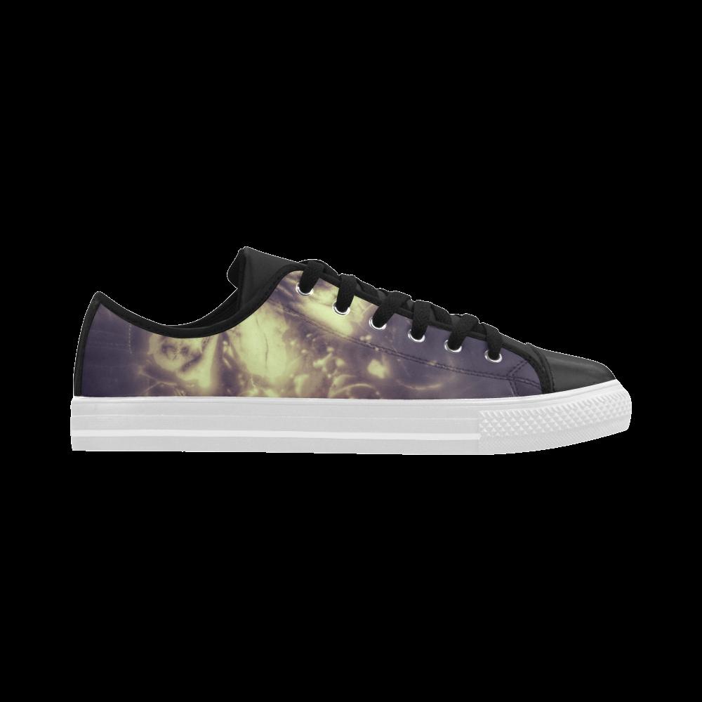 Flower Grey Aquila Microfiber Leather Women's Shoes (Model 028)