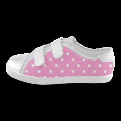 polkadots20160626 Velcro Canvas Kid's Shoes (Model 008)