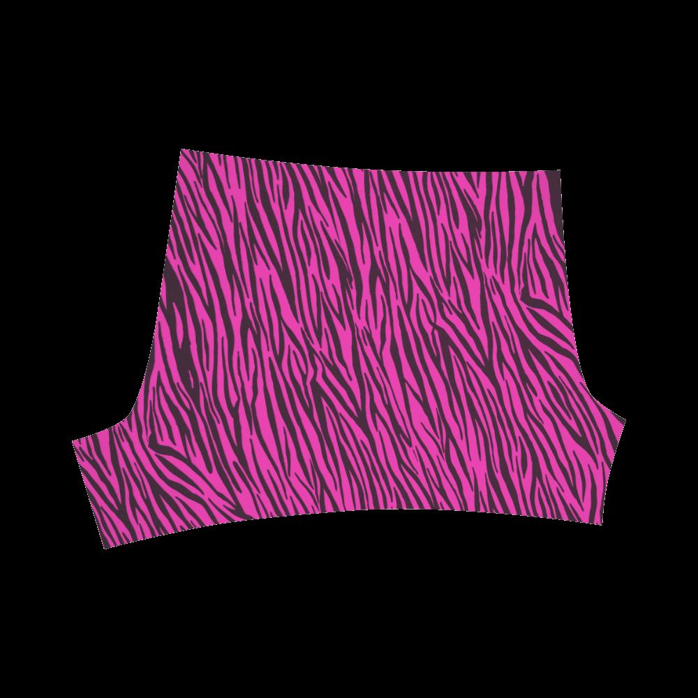 Hot Pink Zebra Stripes Briseis Skinny Shorts (Model L04)