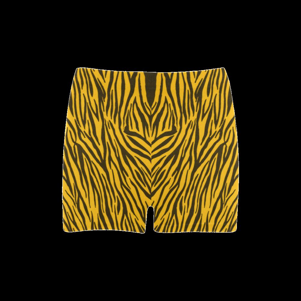 Yellow Zebra Stripes Briseis Skinny Shorts (Model L04)