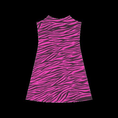 Hot Pink Zebra Stripes Alcestis Slip Dress (Model D05)
