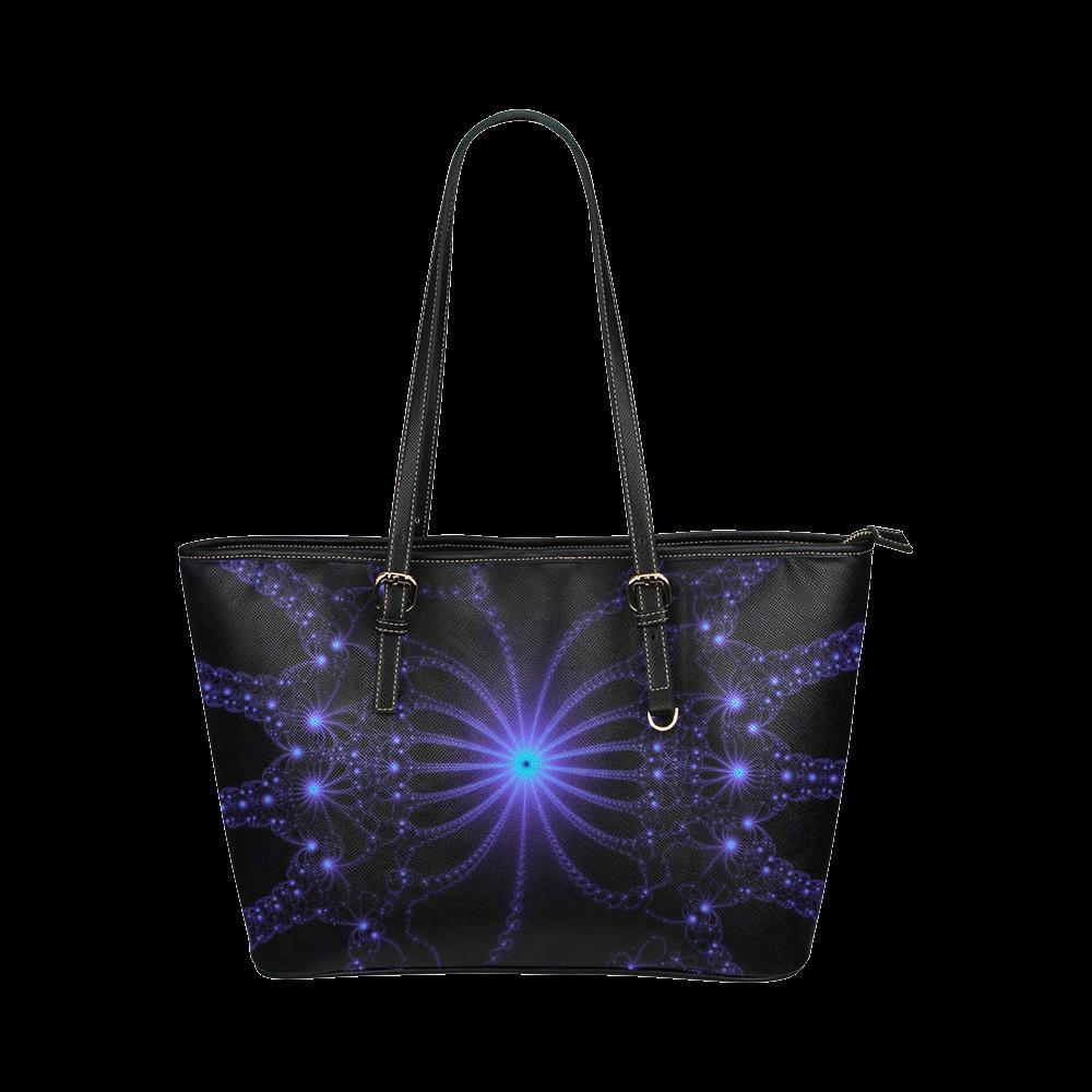 Blue Flower Explosion Leather Tote Bag/Large (Model 1651)