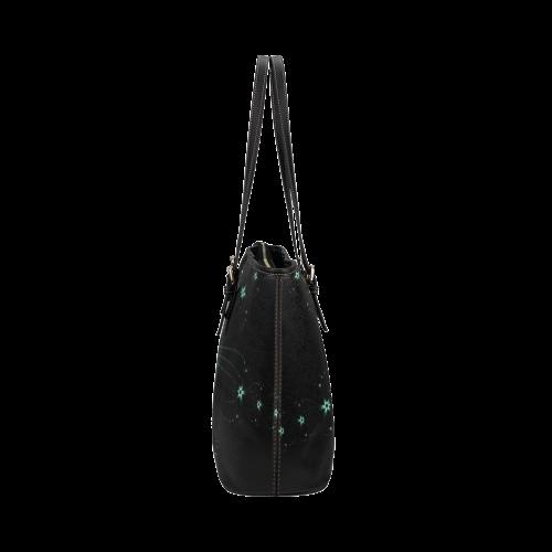 Teal Flower Burst Leather Tote Bag/Large (Model 1651)