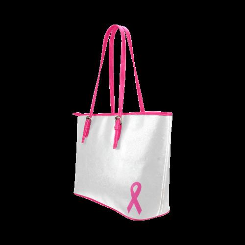 Dark Pink Ribbon Leather Tote Bag/Large (Model 1651)
