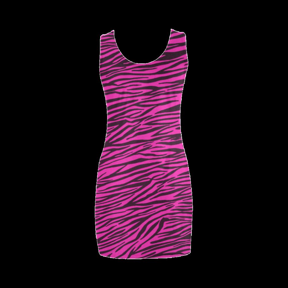 Hot Pink Zebra Stripes Medea Vest Dress (Model D06)
