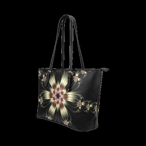 White Flower Burst Leather Tote Bag/Large (Model 1651)