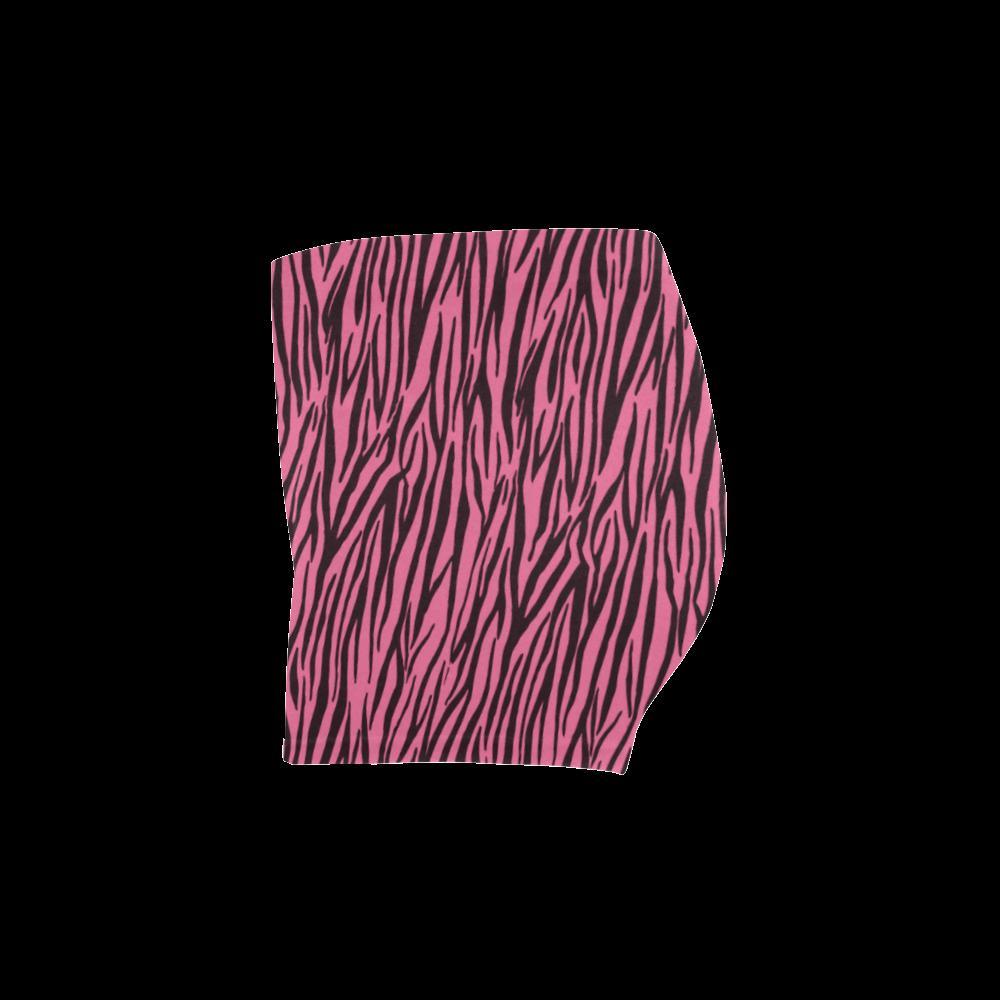 Pale Pink Zebra Stripes Briseis Skinny Shorts (Model L04)