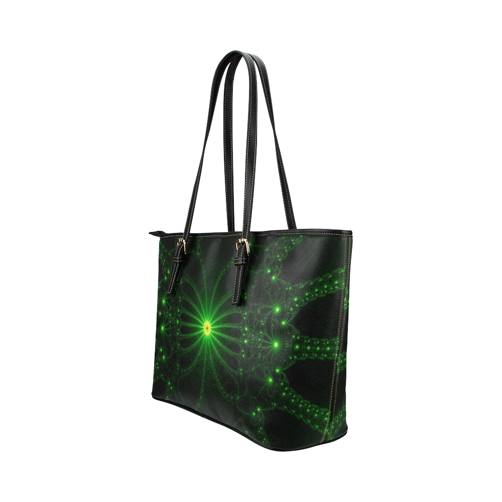 Green Flower Explosion Leather Tote Bag/Large (Model 1651)