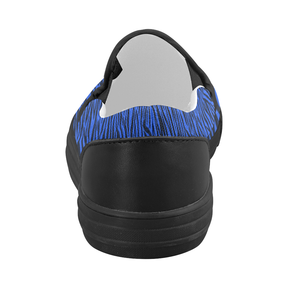 Blue Zebra Stripes Women's Slip-on Canvas Shoes (Model 019)