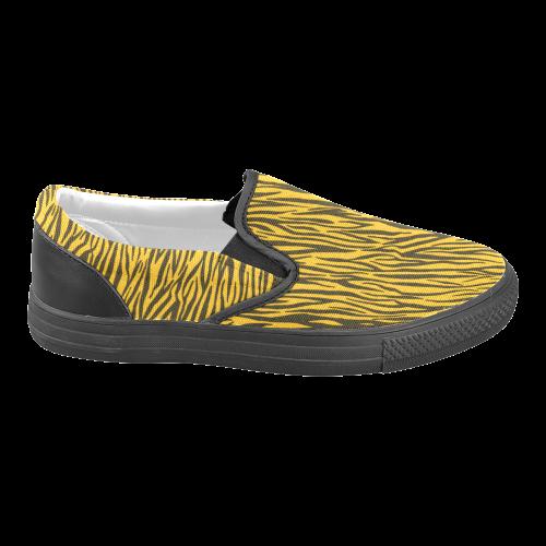 Yellow Zebra Stripes Women's Unusual Slip-on Canvas Shoes (Model 019)