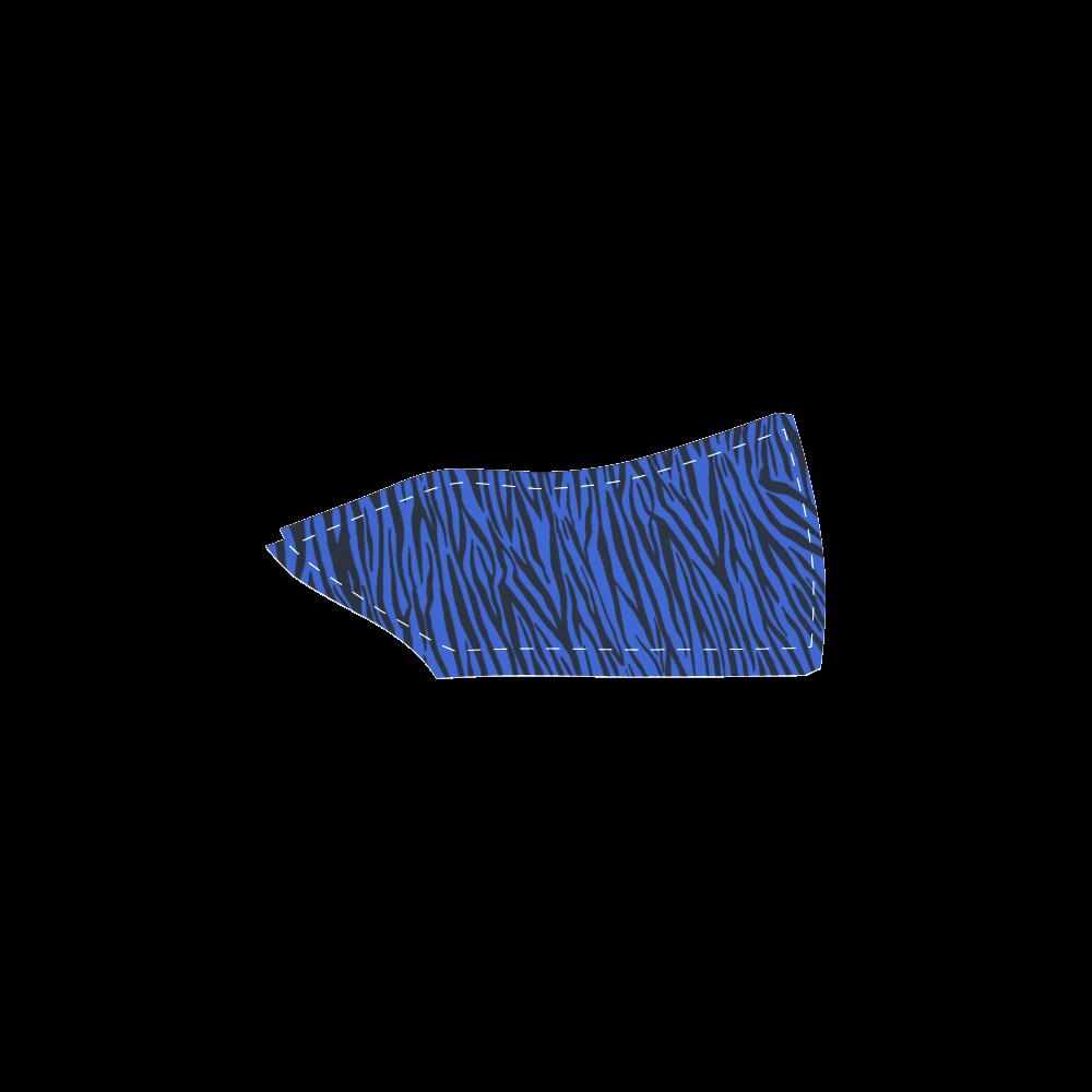 Blue Zebra Stripes Women's Unusual Slip-on Canvas Shoes (Model 019)