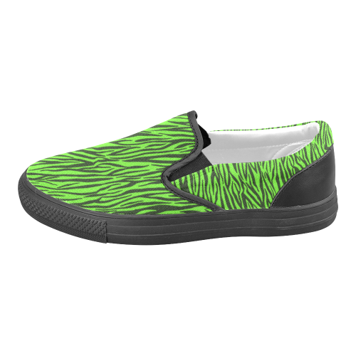 Green Zebra Stripes Women's Unusual Slip-on Canvas Shoes (Model 019)