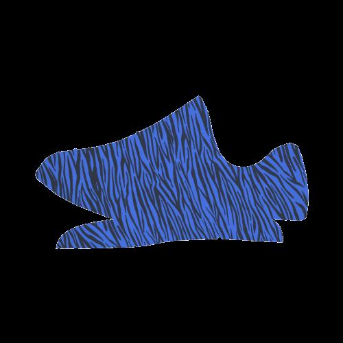Blue Zebra Stripes Grus Women's Breathable Woven Running Shoes (Model 022)