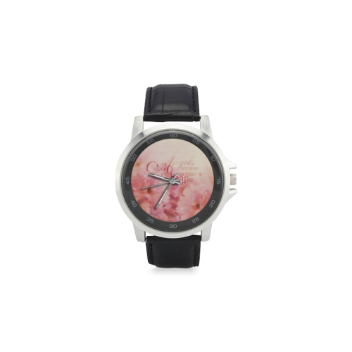 Pink Cherry Blossom for Angels Unisex Stainless Steel Leather Strap Watch(Model 202)