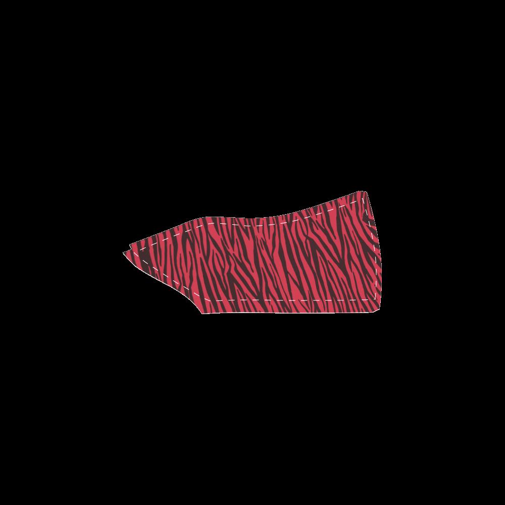 Red Zebra Stripes Women's Unusual Slip-on Canvas Shoes (Model 019)