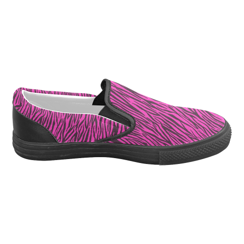 Pink Zebra Stripes Women's Unusual Slip-on Canvas Shoes (Model 019)