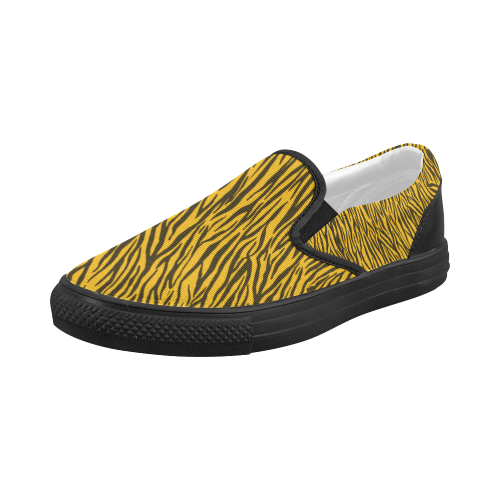 Yellow Zebra Stripes Women's Slip-on Canvas Shoes (Model 019)