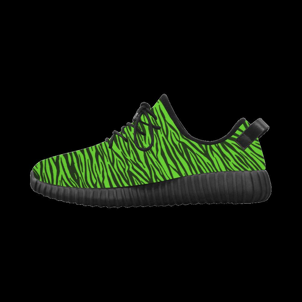 Green Zebra Stripes Grus Women's Breathable Woven Running Shoes (Model 022)