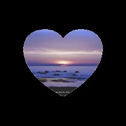 Blue and Purple Sunset Heart-shaped Mousepad
