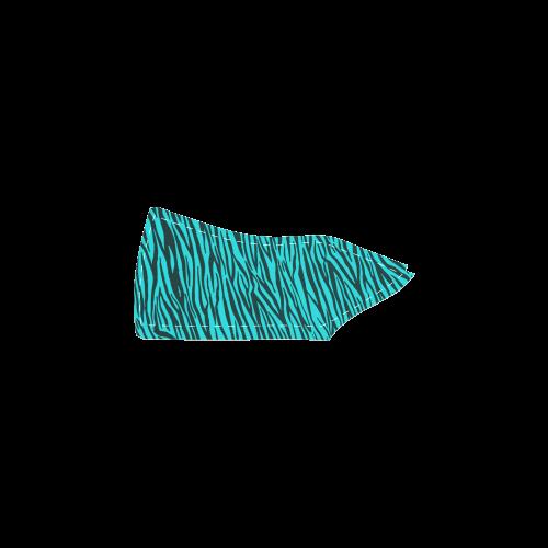 Turquoise Zebra Stripes Women's Slip-on Canvas Shoes (Model 019)