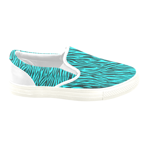 Turquoise Zebra Stripes Women's Unusual Slip-on Canvas Shoes (Model 019)