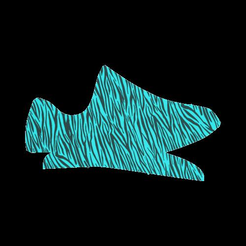 Turquoise Zebra Stripes Grus Women's Breathable Woven Running Shoes (Model 022)