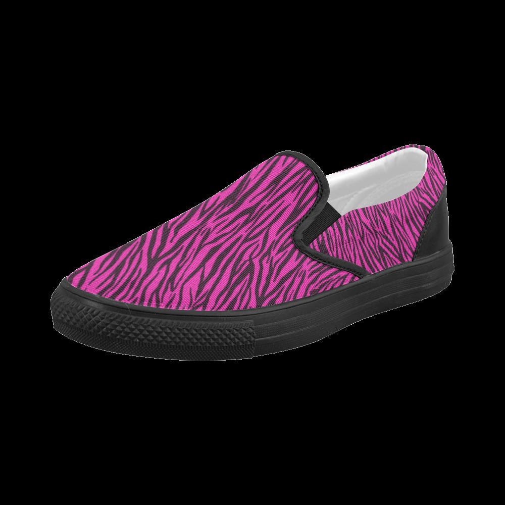 Pink Zebra Stripes Women's Slip-on Canvas Shoes (Model 019)