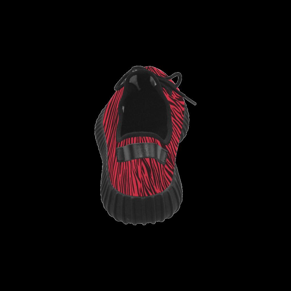 Red Zebra Stripes Grus Women's Breathable Woven Running Shoes (Model 022)