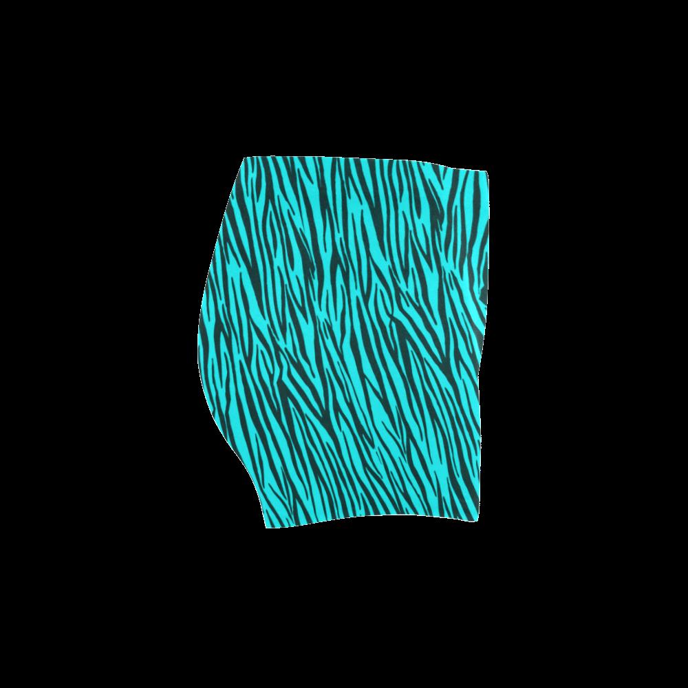 Turquoise Zebra Stripes Briseis Skinny Shorts (Model L04)