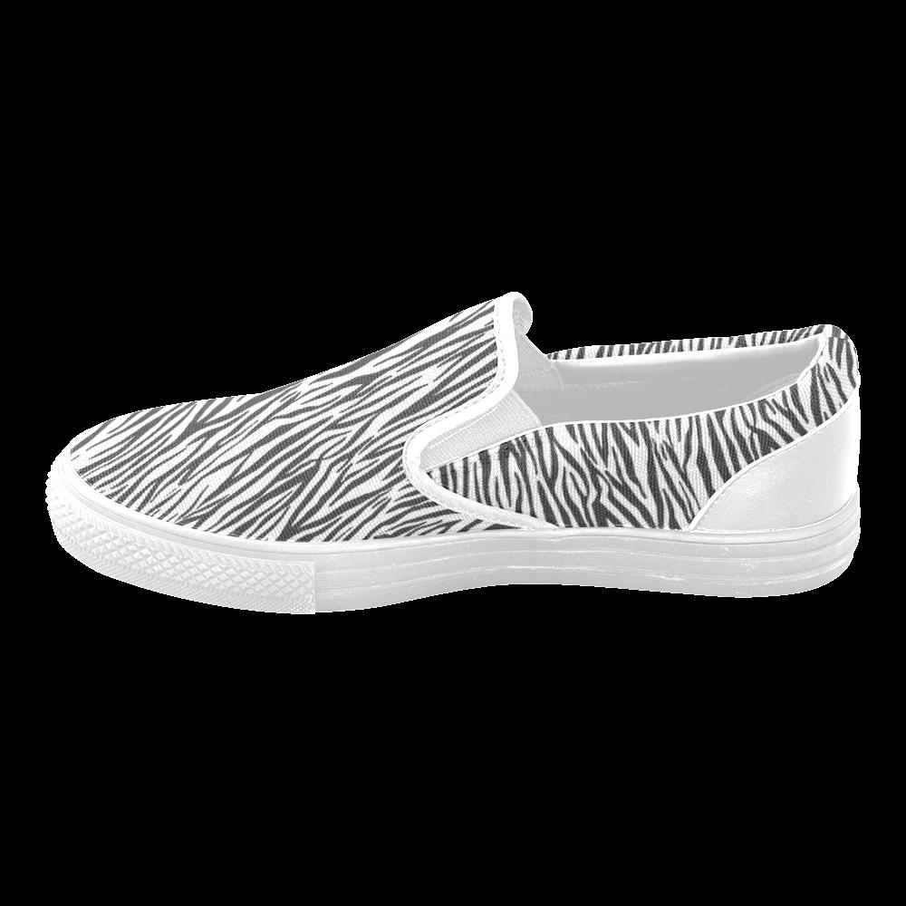 Zebra Stripes Women's Unusual Slip-on Canvas Shoes (Model 019)