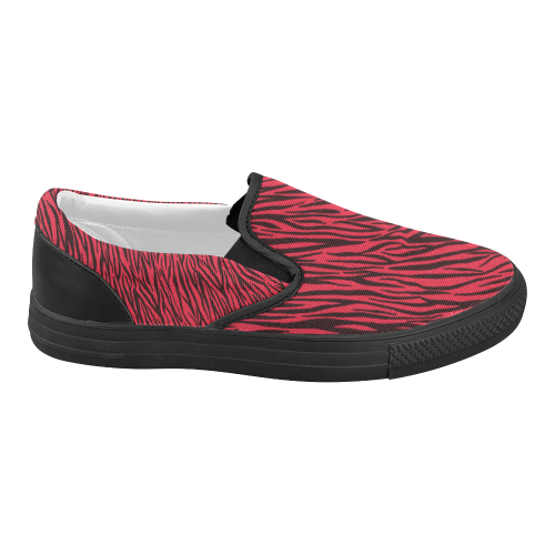 Red Zebra Stripes Women's Slip-on Canvas Shoes (Model 019)