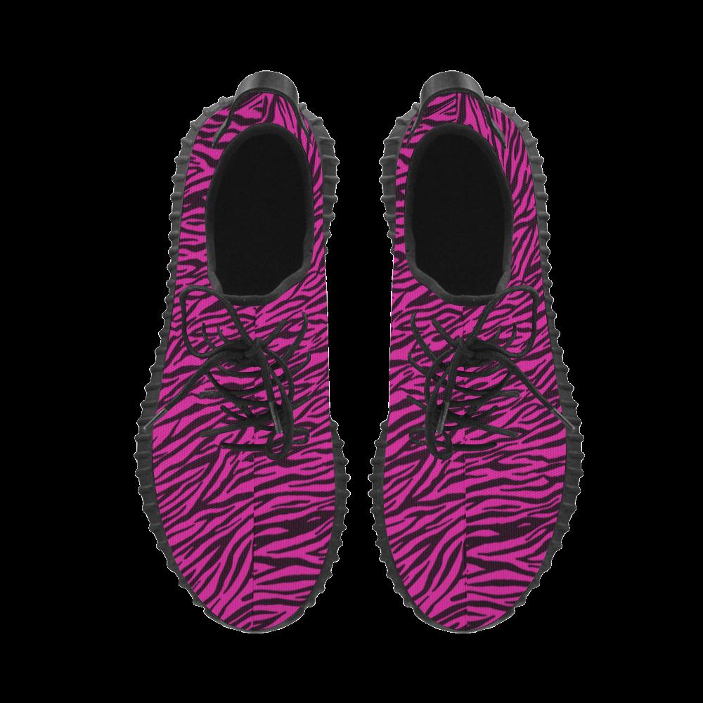 Pink Zebra Stripes Grus Women's Breathable Woven Running Shoes (Model 022)